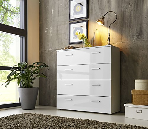 schubladen kommode sideboard anrichte marbella in hochglanz wei made in germany h he 91cm. Black Bedroom Furniture Sets. Home Design Ideas