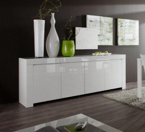 Sideboard Amalfi 4-türig, 210 x 84 x 50 cm, weiß hochglanz