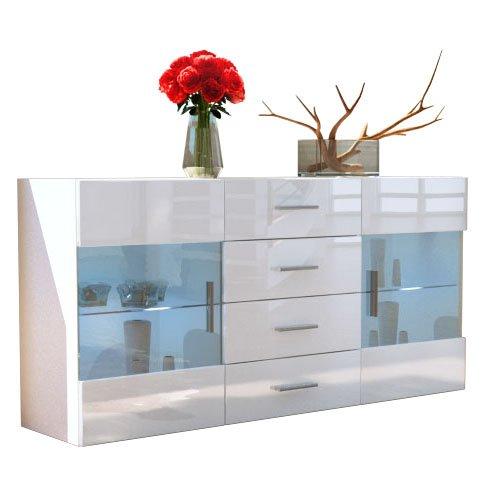 Sideboard Kommode Bari in Weiß / Weiß Hochglanz