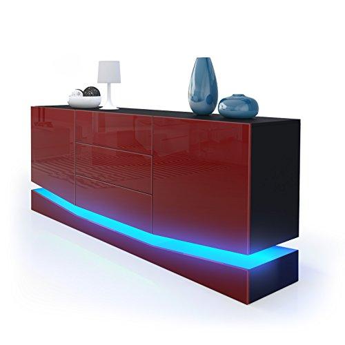 sideboard kommode city korpus in schwarz matt fronten in bordeaux hochglanz inkl led. Black Bedroom Furniture Sets. Home Design Ideas
