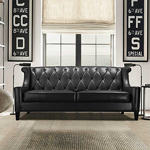 sofa im retrostil schwarz pharao24 m bel24 xxl m bel. Black Bedroom Furniture Sets. Home Design Ideas