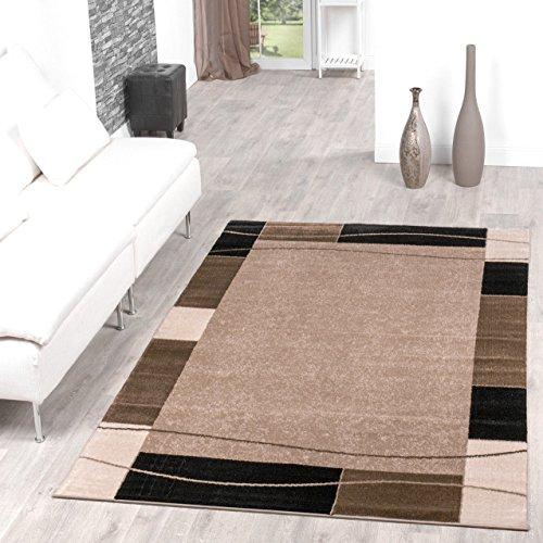 Teppich Günstig Bordüre Design Modern Wohnzimmerteppich Beige Schwarz Top Preis, Größe:160x220 cm