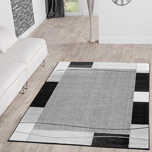 teppich g nstig bord re design modern wohnzimmerteppich grau schwarz top preis gr e 120x170 cm. Black Bedroom Furniture Sets. Home Design Ideas