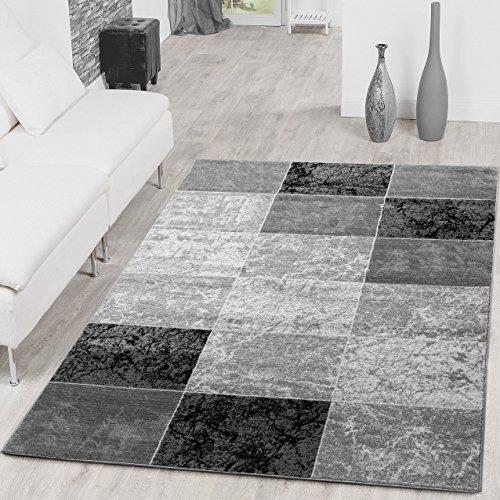 teppich preiswert karo design modern wohnzimmerteppich grau schwarz top preis gr e 120x170 cm. Black Bedroom Furniture Sets. Home Design Ideas