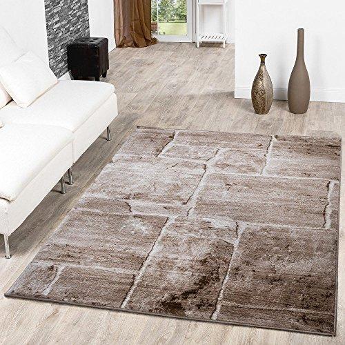 Teppich Steinboden Marmor Optik Design Modern Wohnzimmerteppich Braun Top Preis, Größe:190x280 cm