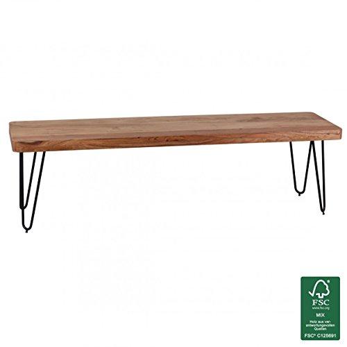 Wohnling Massivholz Akazie Sitzbank 160 x 40 x 45 cm