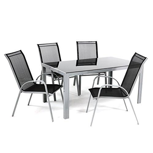 5tlg alu sitzgruppe gartengarnitur gartenset mit glastisch mit sicherheitsglas rahmen aus. Black Bedroom Furniture Sets. Home Design Ideas