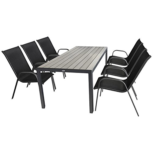 7 teilige gartengarnitur sitzgruppe sitzgarnitur gartenm bel terrassenm bel set aluminium. Black Bedroom Furniture Sets. Home Design Ideas