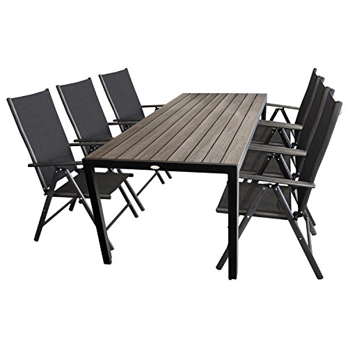7tlg gartengarnitur polywood gartentisch 205x90cm 6x hochlehner mit 2 2 textilenbespannung. Black Bedroom Furniture Sets. Home Design Ideas