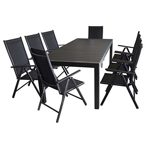 9tlg gartenm bel set aluminium polywood ausziehtisch. Black Bedroom Furniture Sets. Home Design Ideas