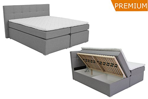 boxspringbett ka line 160 200 cm hellgrau h2 h3 mit stauraum bettkasten comfortbox f en. Black Bedroom Furniture Sets. Home Design Ideas