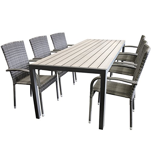elegante 7tlg gartengarnitur aluminium polywood non wood 205x90cm gartentisch sitzgruppe rattan. Black Bedroom Furniture Sets. Home Design Ideas