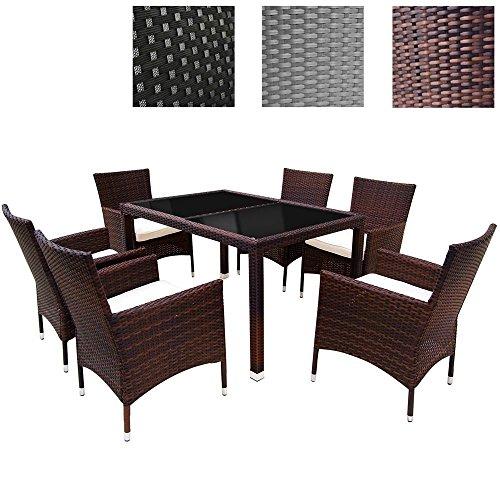 miadomodo elegante 6 1 polyrattan aluminium sitzgarnitur rattan gartenm bel set in der farbe. Black Bedroom Furniture Sets. Home Design Ideas