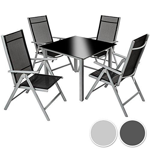 9 teilige gartengarnitur alu sitzgarnitur farbwahl sitzgruppe mit glastisch komfortable. Black Bedroom Furniture Sets. Home Design Ideas