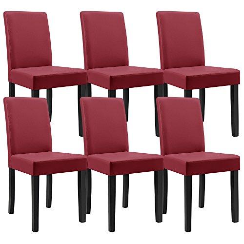 """[en.casa] Esstisch und Stuhlset """"Helsinki"""" (antik - 180x95) 6 Stühle (gepolstert - dunkelrot) - im Sparpaket"""