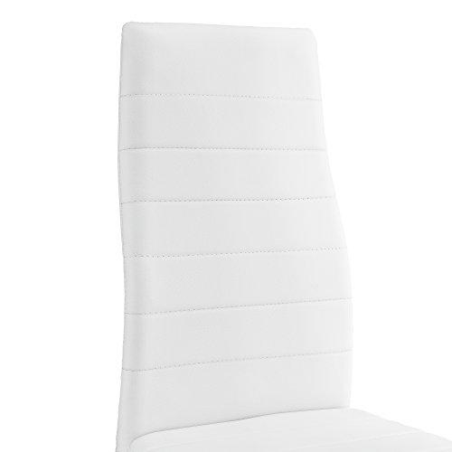 esstisch k chentisch esszimmertisch 120x60cm mit 4 st hlen wei gepolstert. Black Bedroom Furniture Sets. Home Design Ideas
