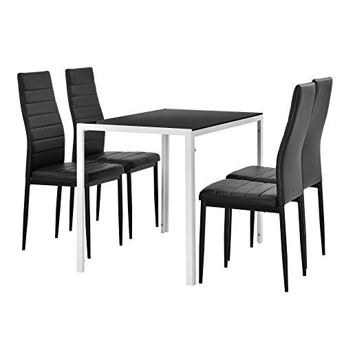 [en.casa] Moderner Esstisch schwarz/weiß + 4er Stuhlset schwarz