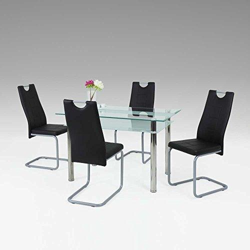 Esstisch mit Stühlen mit Glastisch Schwarz Kunstleder (5-teilig) Pharao24