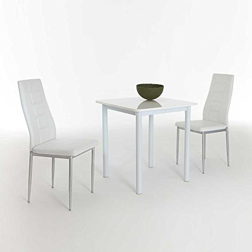 Sitzgruppe für Küche Weiß Hochglanz (3-teilig) Pharao24