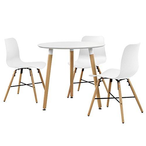 [en.casa] Esstisch (rund - ø80cm) mit 3 Design-Stühlen - Sitzgruppe in Retro-Look (Weiß)