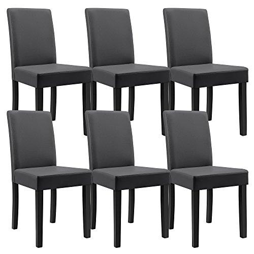 [en.casa] Esstisch Eiche antik mit 6 Stühlen dunkelgrau Kunstleder gepolstert 140x90 Essgruppe Esszimmer