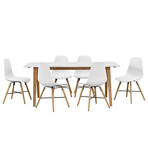 design esstisch mit 6 st hlen wei bambus 180x80cm sitzgruppe m bel24. Black Bedroom Furniture Sets. Home Design Ideas