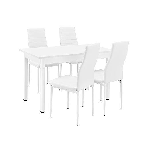[en.casa] Esstisch / Küchentisch / Esszimmertisch (120x60cm) mit 4 Stühlen weiß gepolstert - Sitzgruppe im Sparpaket
