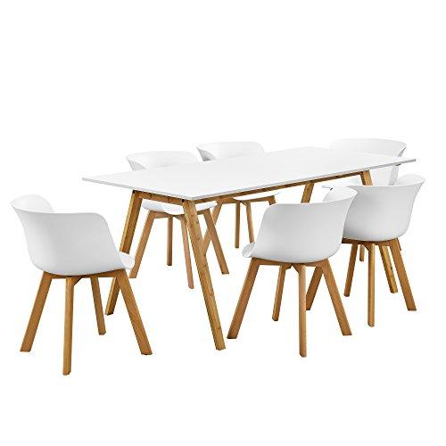 [en.casa]® Esstisch mit 6 Stühlen weiß 180x80 Küchentisch Esszimmertisch