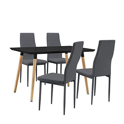 [en.casa] Esstisch / Esszimmertisch / Küchentisch (120x80cm) mit 4 Polster-Stühlen aus PU- Kunstleder schwarz + dunkelgrau - Essgruppe in Sparpaket