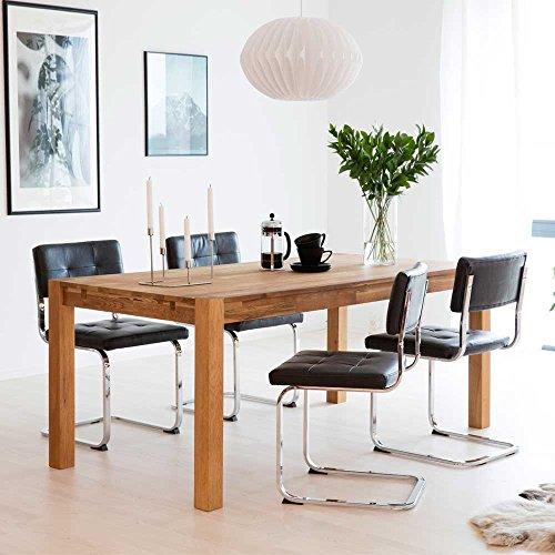 Esstisch mit Stühlen aus Eiche Massivholz Schwarz Kunstleder (5-teilig) Breite 180 cm Pharao24