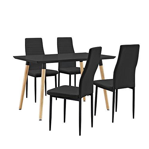 [en.casa] Esstisch / Esszimmertisch / Küchentisch (120x80cm) mit 4 Polster-Stühlen aus PU- Kunstleder schwarz - Essgruppe in Sparpaket