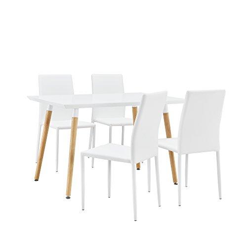 [en.casa] Stylischer Esstisch / Küchentisch (120x80cm) mit 4 Polster-Stühlen aus PU- Kunstleder weiß - Essgruppe in Sparpaket