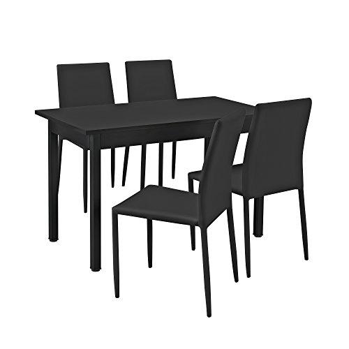 [en.casa] Esstisch / Esszimmertisch / Küchentisch (120x60cm) mit 4 Stühlen schwarz gepolstert - Sitzgruppe im Sparpaket