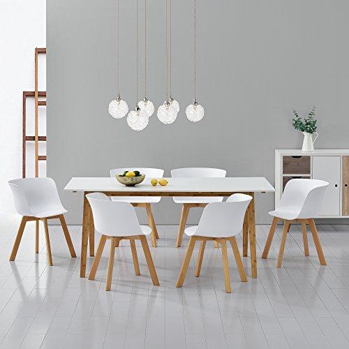 esstisch mit 6 st hlen wei 180x80 k chentisch esszimmertisch m bel24. Black Bedroom Furniture Sets. Home Design Ideas