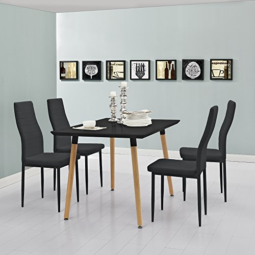 esstisch esszimmertisch k chentisch 120x80cm mit 4 polster st hlen aus pu. Black Bedroom Furniture Sets. Home Design Ideas