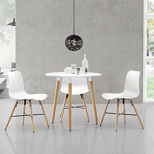 esstisch rund 80cm mit 3 design st hlen sitzgruppe in retro look wei xxl. Black Bedroom Furniture Sets. Home Design Ideas