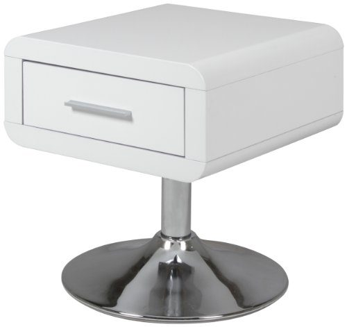 AC Design Furniture 47909 Nachttisch Josefine mit 1 Schublade, weiß hochglanz