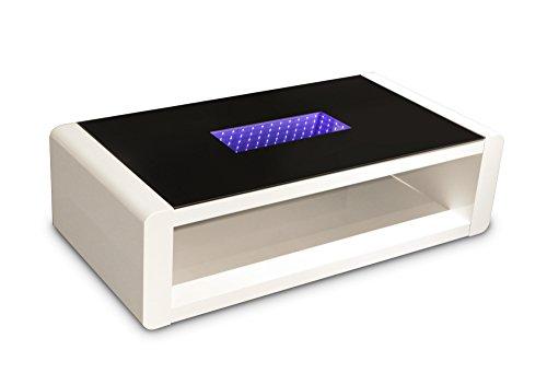 cavadore 86203 couchtisch hutch moderner niedriger tisch mit schwarzem glas und led beleuchtung. Black Bedroom Furniture Sets. Home Design Ideas