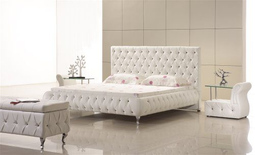 Designer Bett Am0W Weiß mit Kristallen - ALLE GRÖßEN (140x200 cm)