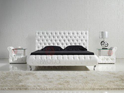 Designer Bett AmD0W 200x200 Weiß mit Kunstlederknöpfen