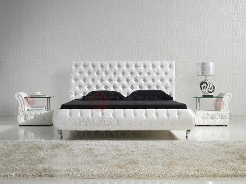 designer bett amd0w 200x200 wei mit kunstlederkn pfen m bel24. Black Bedroom Furniture Sets. Home Design Ideas