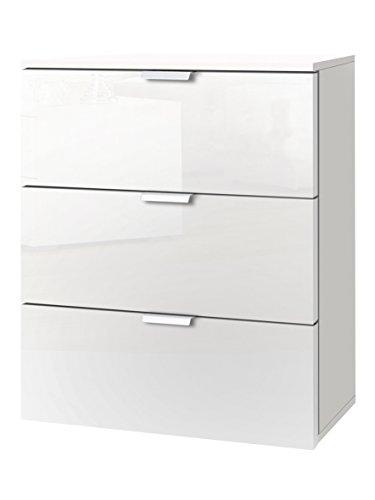 Express Möbel Nachtkonsole mit drei Schubladen Weiß Hochglanz Lack, Korpus Polarweiß, BxHxT 50x61x42 cm, Art Nr. 30805-203