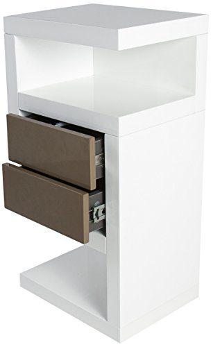 """HL Design 01-08-110.2 Boxspring-Nako """"Neomi"""", 40 x 28 x 69 cm, rechts, Schublade push-to-open in taupe, eingesetzte Rollen, weiß hochglanz"""