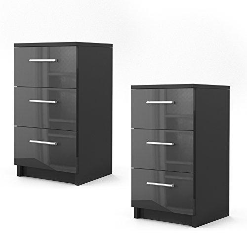 nachtkommode f r boxspringbett 2 er set 66cm hoch schwarz hochglanz nachtschrank nachttisch. Black Bedroom Furniture Sets. Home Design Ideas