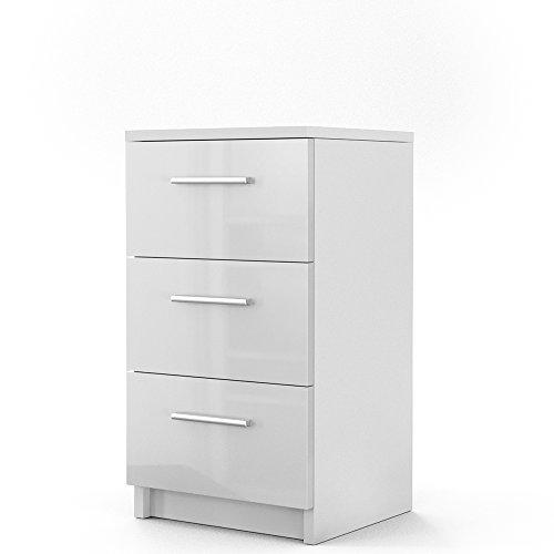 songmics nachttisch nachtkommode rollcontainemit 2 schubladen mdf 40 x 35 x 40 cm wei lbc35w. Black Bedroom Furniture Sets. Home Design Ideas