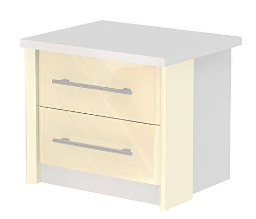 Nachtkästchen Lepa 31, Farbe: Weiß / Creme Hochglanz - Abmessungen: 45 x 52 x 42 cm (H x B x T)