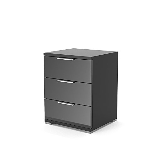 nachtschrank kommode nachttisch schrank schublade ablage schlafzimmer schwarz hochglanz m bel24. Black Bedroom Furniture Sets. Home Design Ideas