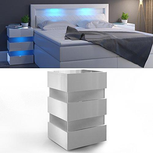 Nachttisch LED 70cm hoch für Boxspringbett Weiß Hochglanz Nachtkommode Nachtschrank Kommode Schrank Schublade RGB - inkl. Fernbedienung