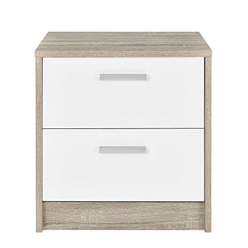 [en.casa] Nachttisch Beistelltisch (48,5 x 45 x 39,5 cm) furniert (Eiche) 2 Schubladen (weiß - Hochglanz - Klavierlack) Griffe in Edelstahl Optik