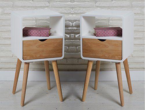 2er Set Nachttisch Telefontisch Holz weiß 35 x 30 x 70 cm Nachtschrank kleiner Schrank Nachtschränke Nachttische Nachtkommoden Nachtschränkchen skandinavischer Retro-Stil